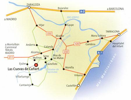 Mapa La Buhardilla Casa Rural - Las Cuevas de Cañart - Teruel